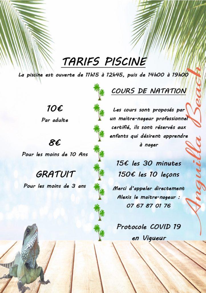 Tarifs Piscine 2020-ANGUILLA-BEACH
